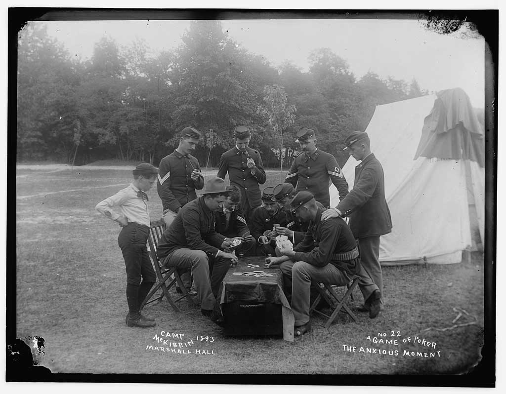 A photo from 1893 shows soldiers playing poker around a tent