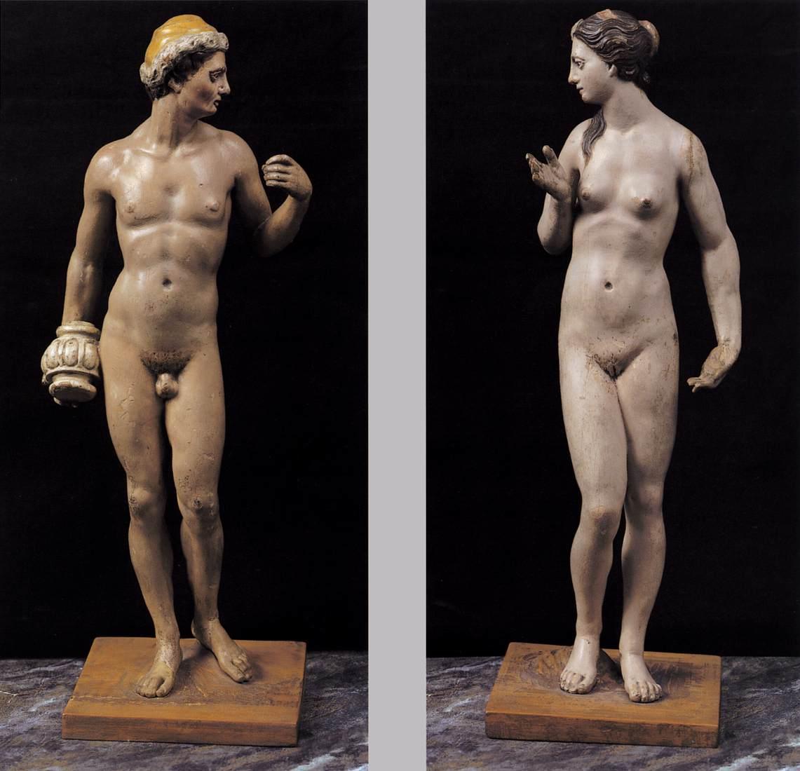 Two sculpture by El Greco depicting Epimetheus and Pandora