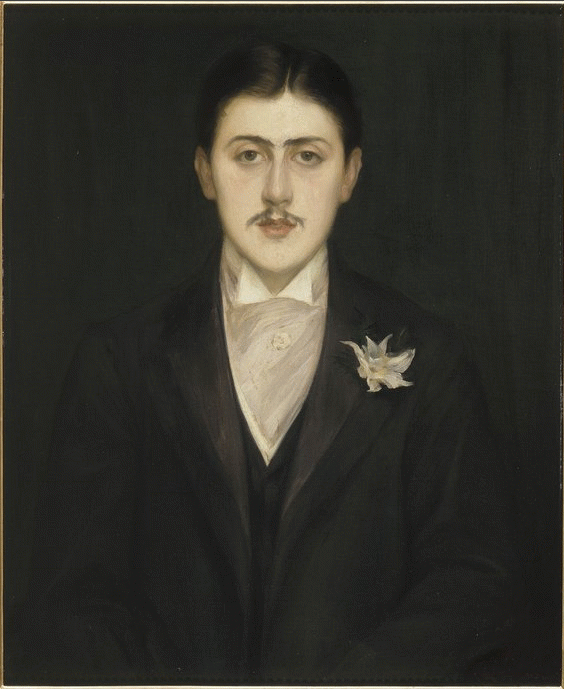 """A painted portrait of Marcel Proust to accompany the quote """"true paradises are paradises we have lost"""""""