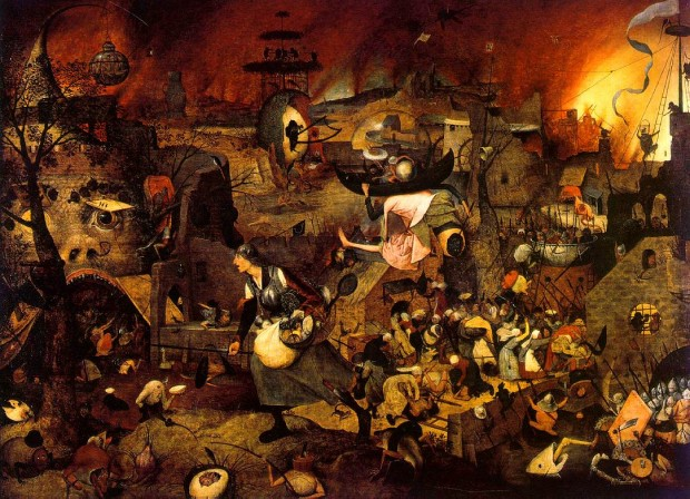 Dulle Griet (also know in English as Mad Meg) by  Pieter Bruegel the Elder, oil on panel, 45 in × 63 in, 1562