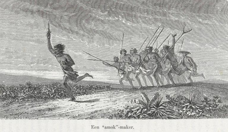 An engraving from a book published in 1864 shows a crowd chasing a man who is brandishing a knife