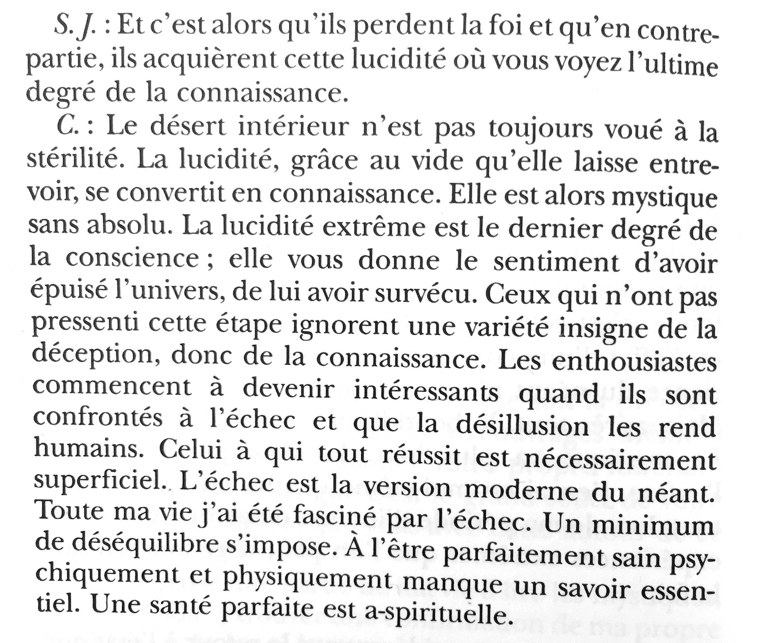Screenshot of a long quote by Cioran, during an interview in French with Sylvie Jadeau