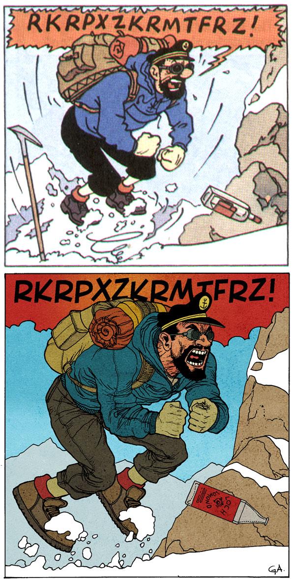 Alanguilan repaneled Herge's Tintin in Tibet (1960)