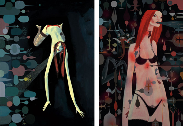 Two paintings from the Ether series by Tim Biskup, 2007