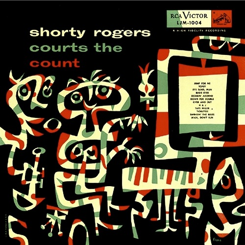 "Cover illustration by Jim Flora for the LP album by Shorty Rogers ""Courts The Count"", 1954"