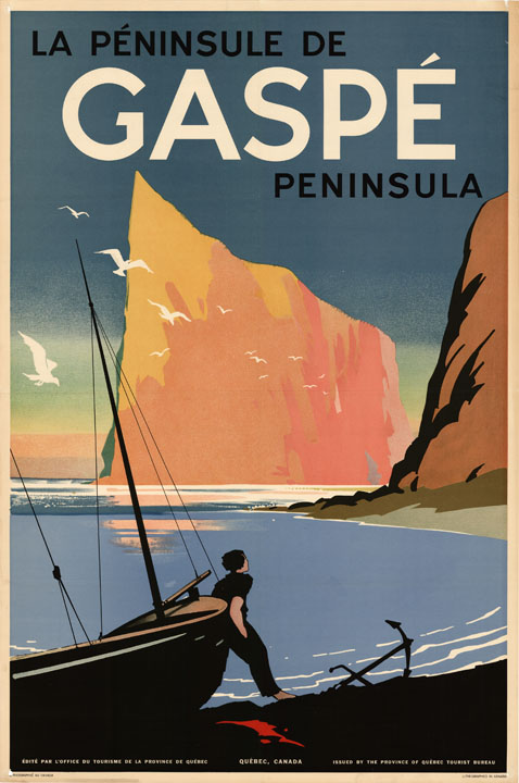 """""""La Péninsule De Gaspé Peninsula"""", lithograph"""