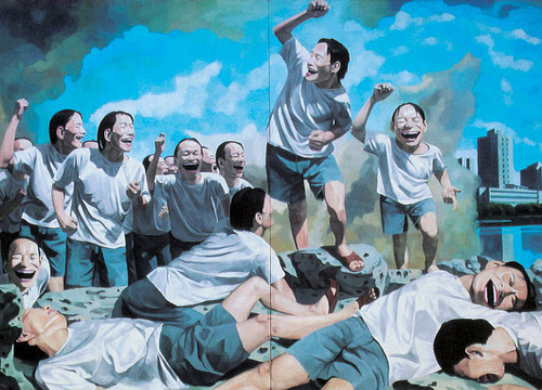 """""""Freedom Leading the People"""" by Yue Minjun, 1996"""