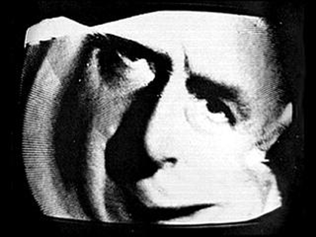 """McLuhan Caged (in Electronic Art II)"" by Nam June Paik, 1967"