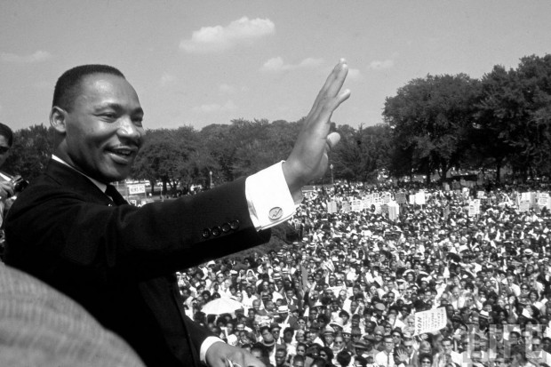 Martin Luther King at the Freedom March, August 1963, photographed by Francis Miller