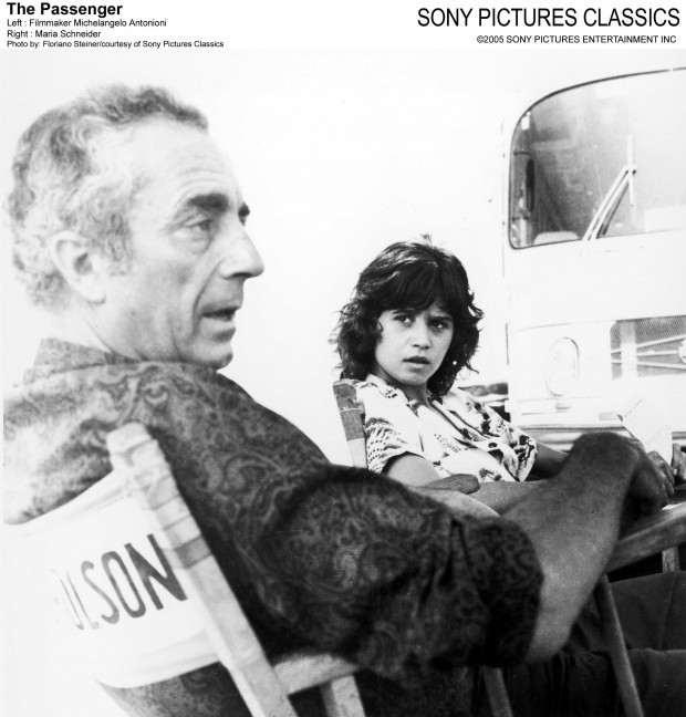 On the set of The Passenger (1975): Michelangelo Antonioni and Maria Schneider, photo by Floriano Steiner
