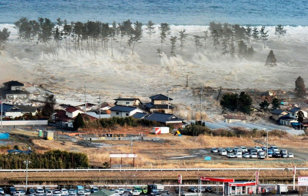 """The waves of the tsunami hit residences in Natori"",  March 11, 2011"