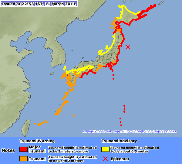 Map of tsunami warnings issued by the Japan Meteorological Agency, March 11, 2011