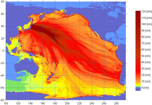 Map of the distribution of energy in the ocean after the earthquake issued by the West Coast and Alaska Tsunami Warning Center on March 11, 2011