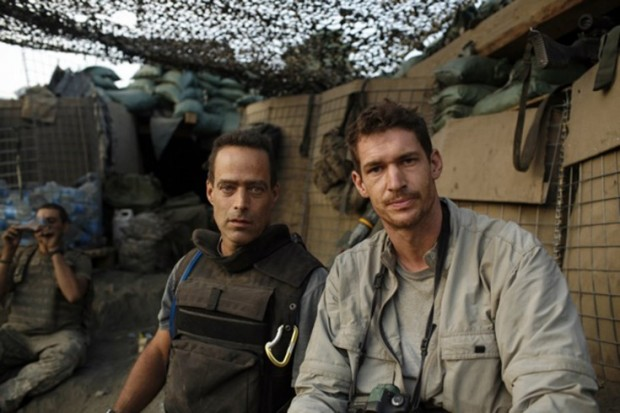 Tim Hetherington (right) and Sebastian Junger (left) at the Restrepo outpost in the Korengal Valley, Afghanistan.