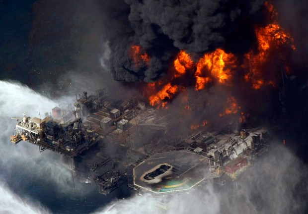 The Deepwater Horizon oil rig is seen burning, April 20, 2010