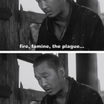 Four stills from the very beginning of Japanese filmmaker Akira Kurosawa's film Rashomon (1950).