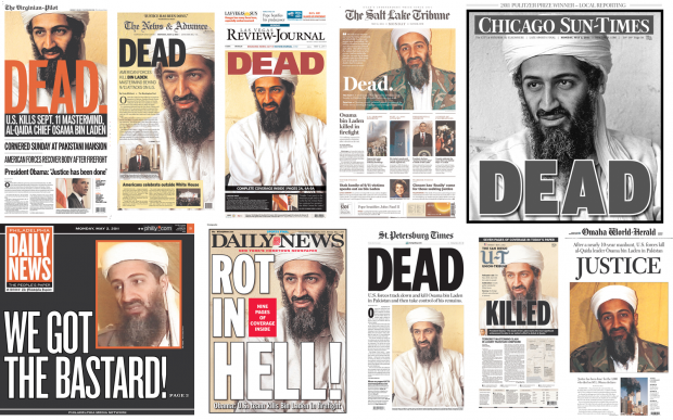 Top Ten Front Page in United-States Announcing Ousama bin Laden Death on May 2, 2011 (from Newseum.org)