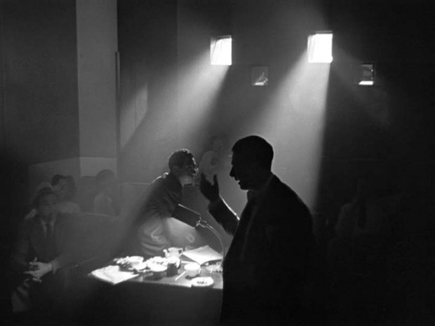 Movie still from Citizen Kane depicting extreme backlighting cinematic technique