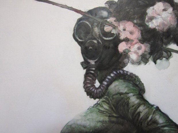 woman with a gas mask, beautiful painting, flowers, apocalypse, gas mask, badass