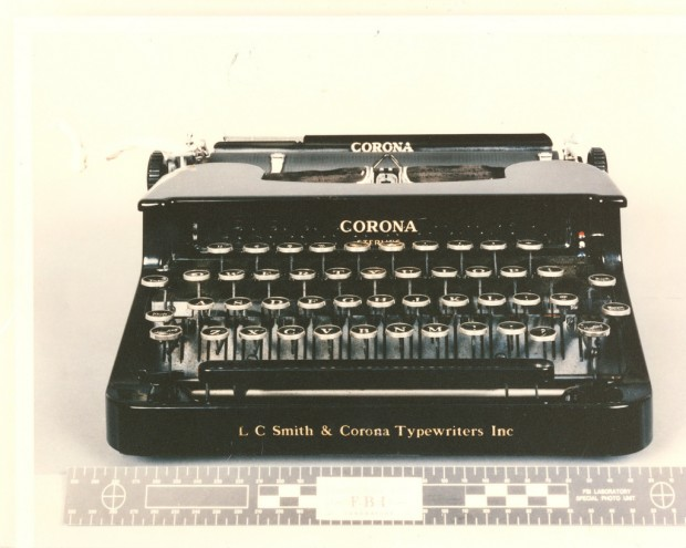 Photo of Ted Kaczynski's typewriter,  US Marshals Punlic Affairs (2011)