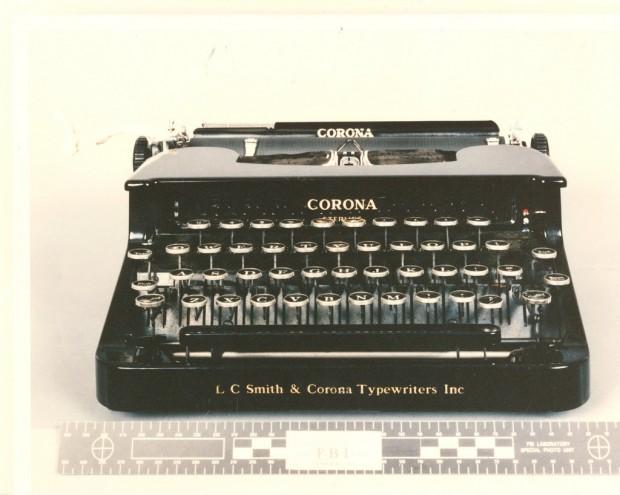 Photo of Ted Kaczynski's typewriter,  US Marshals Punlic Affairs (2011)