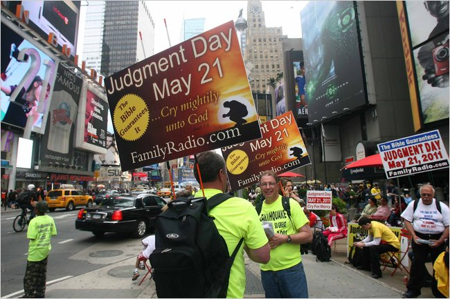 """In Times Square, people spread the word about the rapture"" Photo by Earl Wilson for The New York Times. May 2011"