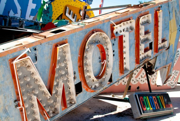 """""""Motel (with color TV)"""" photo from the Neon Boneyard by Josh Smith, September 2010"""