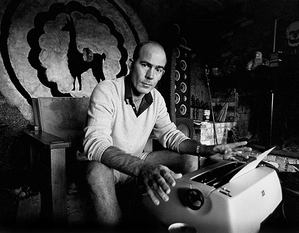 Journalist Hunter S. Thompson working at his ranch circa 1976