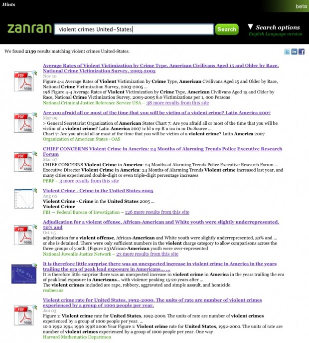 "Zanran (beta): example of search results for ""violent crimes United-States"""
