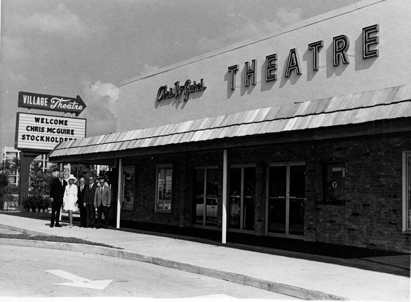 """Stockholders standing in front of Chris McGuire's Theatre : Fort Lauderdale, Florida. Photo by Roy Erickson, 1970"
