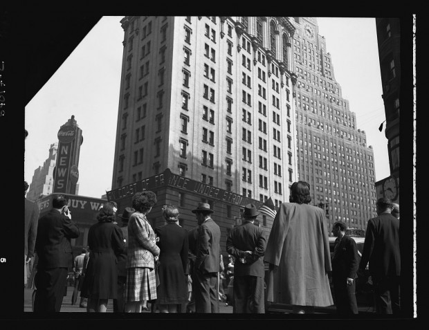 """New York, New York. Times Square and vicinity on D-Day"" June 6, 1944 (from the Library of Congress)"