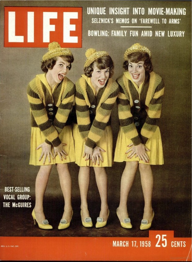 The McGuire Sisters on the front cover of the LIFE magazine, March 17, 1958