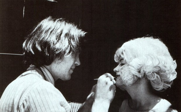 "Photo of David Lynch and actress Laurel Near on the set of Eraserhead from a double issue of the magazine Cinefantastic, ""Dune/Eraserhead"", vol. 14, no. 4-5, September 1984."