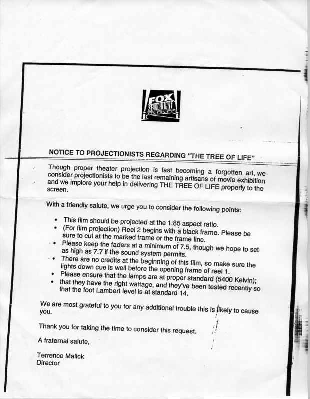 """Notice to projectionists regarding 'The Tree of Life'"" by Fox Searchlight Pictures/Terrence Malick, June 2011"