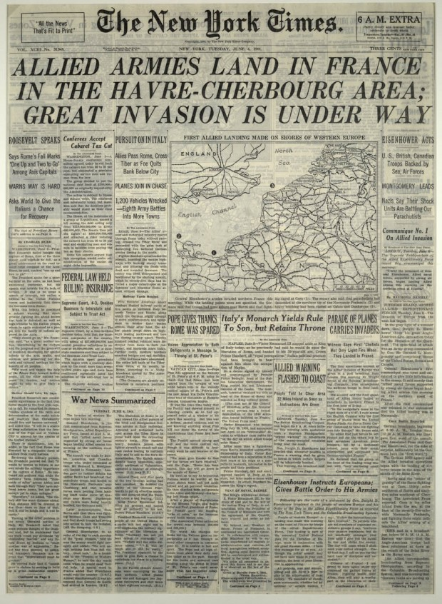 New York Times, June 6, 1944: front page
