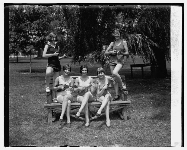 """""""Women in bathing suits with ukuleles"""" July 9, 1926"""