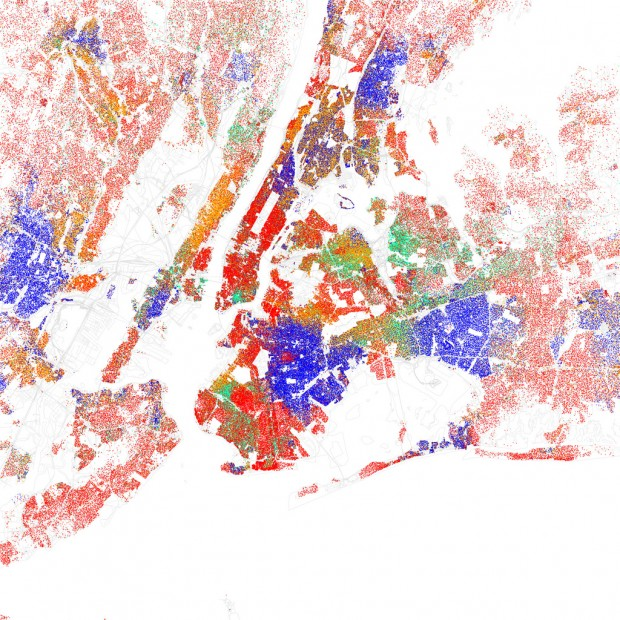 Race and ethnicity 2010: New York City, by Eric Fischer, 2010