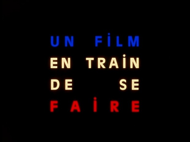 "Still depicting text ""Un film en train de se faire"" from Jean-Luc Godard's film La Chinoise (1967)"