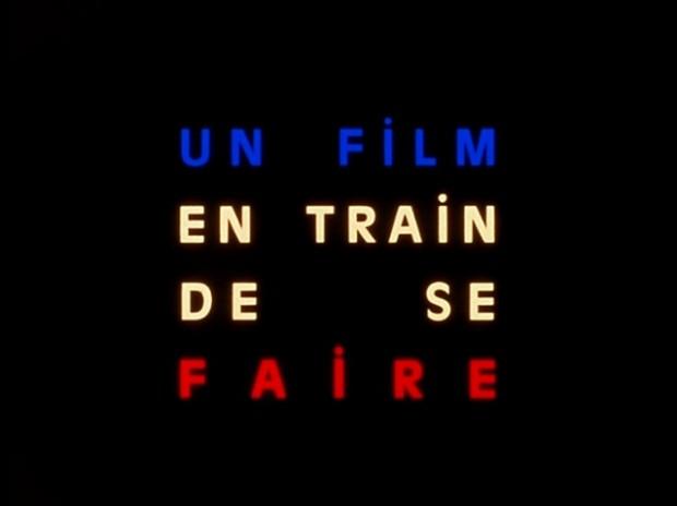 "Still depicting text ""Un film en train de se faire"" from Jean-Luc Godard's film La Chinoise (1967)"