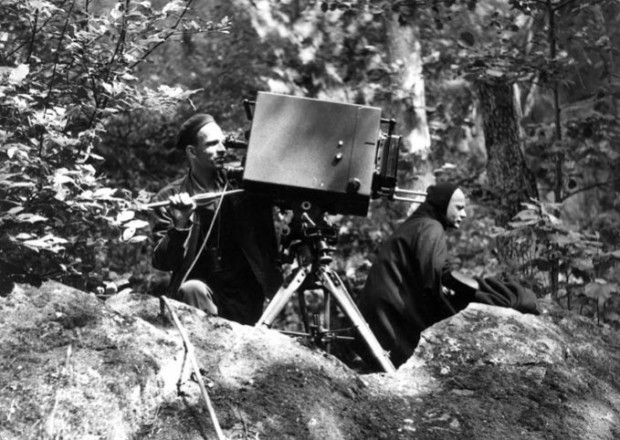 Bergman at the camera on the set of The Seventh Seal (photo by Louis Huch, c. 1956. © AB Svensk Filmindustri)