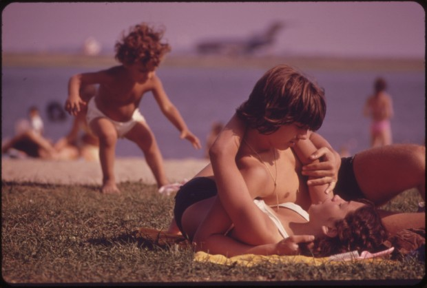 Constitution Beach - Within Sight and Sound of Logan Airport's Takeoff Runway 22r, photo by Michael Philip Manheim, July 1977