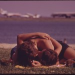 Documerica: Couple Kissing on Constitution Beach (Boston), July 1973