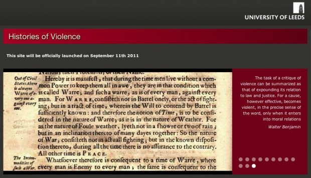 Screen capture of the Histories of Violence's website (home page), Sept. 2011