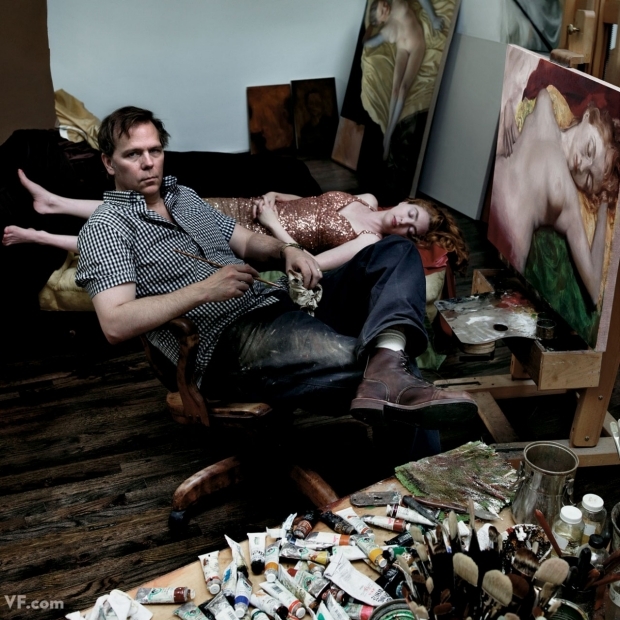 Portrait of John Currin with his wife, by Annie Leibovitz, 2011