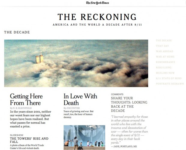 Screen capture of The New York Times special report website for  September 11 and the decade that followed