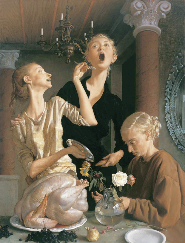 """Thanksgiving"" by Joh Currin, oil on canvas, 1729 x 1323 mm, painting. Lent by the American Fund for the Tate Gallery, courtesy of Marc Jacobs, 2004. © 2011, John Currin."