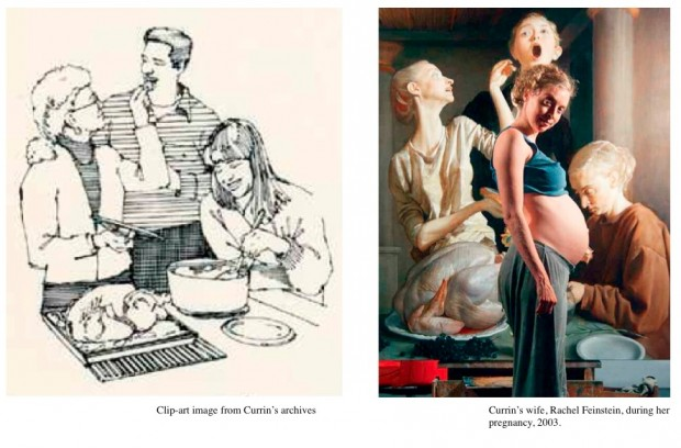 "Related material to the painting ""Thanksgiving"" by John Currin, 2003: art-clip and photo of pregnant wife"