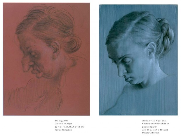 "Related material to the painting ""Thanksgiving"" by John Currin, 2003: two drawing studies of ""The Hag"" (2001 and 2003)"