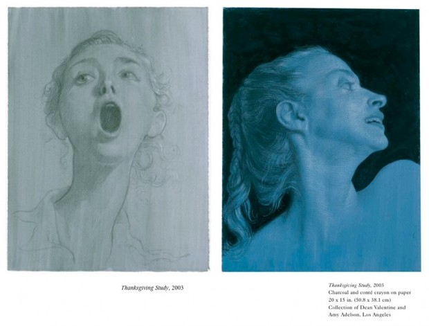 "Related material to the painting ""Thanksgiving"" by John Currin, 2003: two drawing studies for ""Thanksgiving"" (2003)"