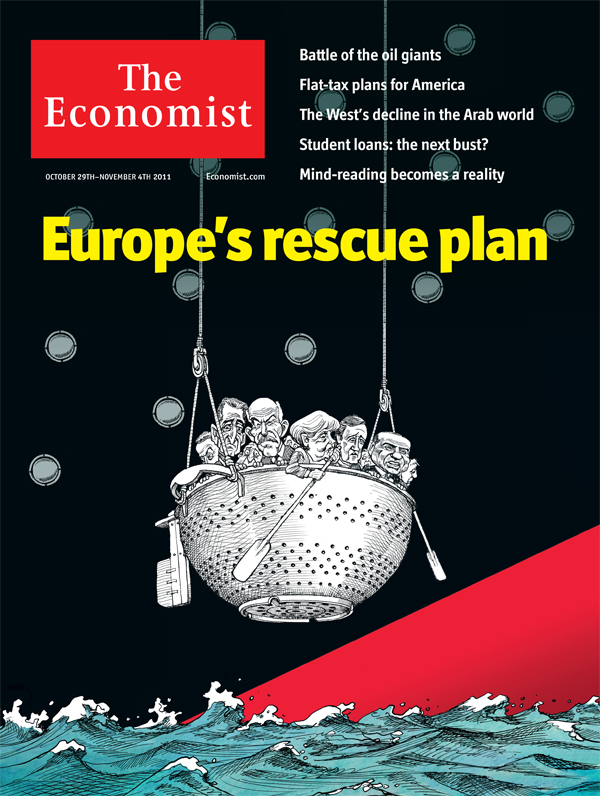 Cover illustration by Kevin Kallaugher a.k.a. KAL for The Economist, Oct. 29th-Nov. 4th, 2011, vol. 401, no. 8757,